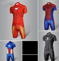Wholesale 2013 new Spider Man short sleeved cycling jerseys riding Suit Iron Man cycling clothing to prepare short slee