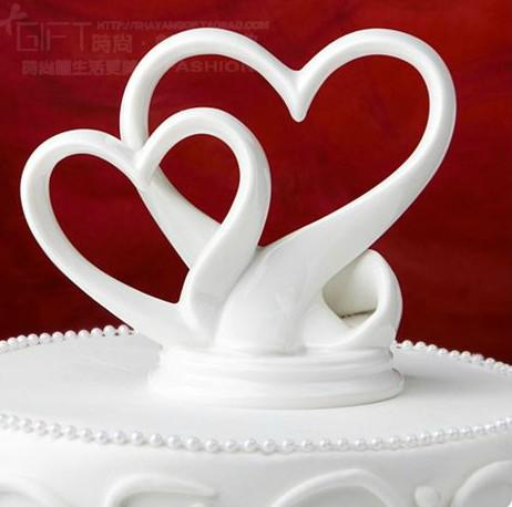 double heart cake topper for wedding decoration party ceremony favors supplies new wa020 peach. Black Bedroom Furniture Sets. Home Design Ideas
