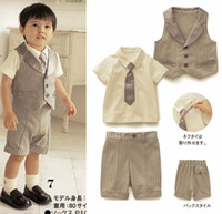 Wholesale NWT Baby Boys Kids Clothing Set Short Sleeved Pure Cotton Tie T Handsome Waistcoat Middle Length Vertical Stripe Pants Suits