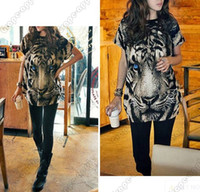 Women Scoop Neck Long 2014 Fashion Women's T-Shirts Tiger Animal Print Street Style Punk tshirts Sexy Ladies Upper Garments office sexy costumes Shirt & Blouse