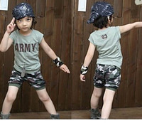 6T-7T Boy Summer 2013 Latest Summer children's camouflage suit handsome boy short-sleeved T-shirt+ camouflage shorts suit kids 2 pcs set cotton,M2