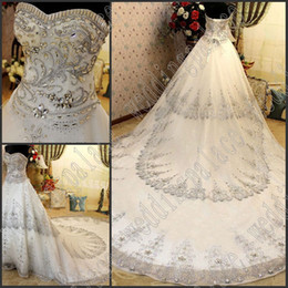 Newest Sexy Gorgeous Wedding Dresses Luxury A-Line Sweetheart Crystal Beaded Lace Cathedral Train Bridal Dresses Wedding Gown