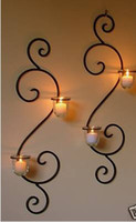 Wholesale Pair of Wrought Iron Candle Holders Rustic Country Wall Decor Swirly cup