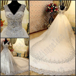 Real Gorgeous Luxurious Appliques Wedding Dresses A-Line Crystal Cathedral Train Beaded Lace Bridal Dresses Wedding Gown