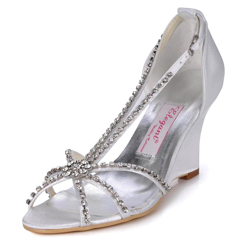 Mc 023 Silver White Open Toe Graduation Party Wedge Evening Party Shoes Satin Wedding Bridal