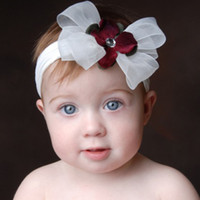 Wholesale Baby Bling White Red Bow Headband Wedding Accessory One Set Have Pieces toddler headpieces hot sale