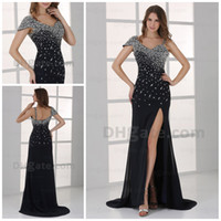 Cheap Model Pictures elegant prom dress Best V-Neck Chiffon hot sale evening dress