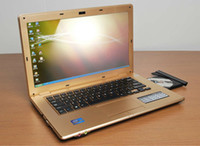 Wholesale 14 inch Laptop with DVD RW DVD ROM Intel Atom D2500 Dual Core Notebook GHz Win OS Netbook HDMI
