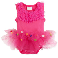 Wholesale NEW Arrivals Rose Pink baby girls dress Rompers summer Sleeveless Cotton Baby One Piece Cake skirt M M M M M M