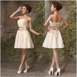 New Cheap Satin Free Shipping Custom Made Bow Lace-up Short Bridesmaid Dress Party Dress