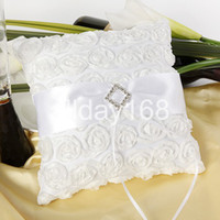 Wholesale High quality Wedding favors rhinestone white rose Satin Ring Pillow for Wedding Ceremony Party Stuff Accessories