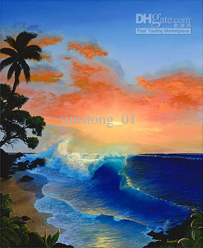 Painting Blue Sky Blue Scenery Oil Painting