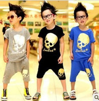 2-7t Boy Summer boys cool outfits children skull Short Sleeve T-shirts+Breeches 2 Piece suits kids summer fashion sets popular clothing 2 color lcagmy