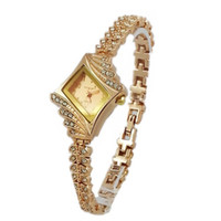 Wholesale Fashion Design Ladies Wrist Watches Gorgeous Rhinestones Rose Gold Girl Women Bracelet Wrist Watch