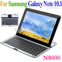 Wholesale Slim Aluminium Bluetooth Keyboard Case Wireless Keypad for Samsung Galaxy Note N8000 N8010