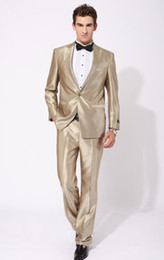 Wholesale NEW Gold Best man slim Groom Tuxedos Men s Wedding Dress Prom Clothing Best man Suit Jacket Pants Tie PP112