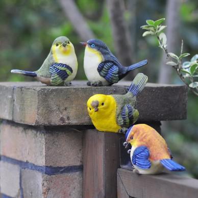 Resin birds artificial bird crafts garden decoration gifts for Fake birds for crafts