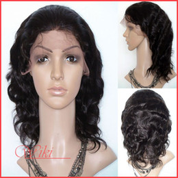 Wholesale 100 hand tied unprocessed lace wig inch Indian Virgin Full Lace Wig Dark Brown body wave free part women wigs DHL