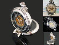 Wholesale 6pcs Unique Magnifier Half Hunter Skeleton Pocket Watch Men Steam Punk Design Mechanical Fob Chain Watches Bronze Platform Timepiece Clock