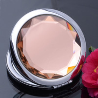pocket mirror - 20 Colors Round Crystal Mirror Double Side Pocket Compact Mirror Illuminated Makeup Mirror Women Favors Make Up Accessories
