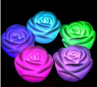 Wholesale 7 Changing Color LED Floating rose Flower Candle light Electronic lamp chirstmas light