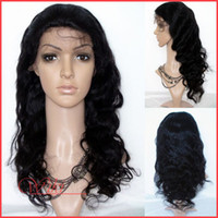 hand tied full lace wig - 18 inch hand tied unprocessed lace wig no shed Brazilian Virgin body wave Full Lace Wig B Free part DHL Drop Shipping