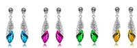 Wholesale pairs Austrian Crystal Earrings Sea Remembers Fondly the light of sea