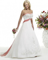 Wholesale New design Strapless Embroidery Charming A Line Wedding Dresses Court Train Wedding Dress Gowns NO