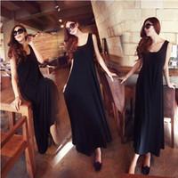 Cheap Modal Sling Tank Dress Fashion Bohemia Vest Dress Black Beach Dress
