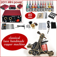 Wholesale Professional complete cheap tattoo kits copper guns machines ink sets equipment power supply grips tips needles D128