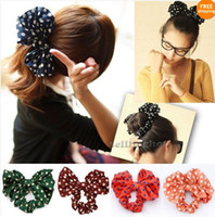 Wholesale Hot Sale Big Rabbit Ear Bow Korean Style Headband Ponytail Holder Hair Tie Band