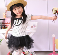 Wholesale Bow Dots Puff Sleeve Flounce Layered Gauze Dress Bodycon Spots Tiered Gymboree Casual Dresses
