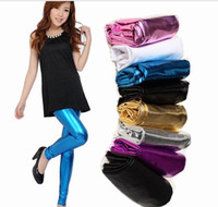 Skinny,Slim Women Basic Style Candy color light metallic imitation leather pants tight sexy ladies Leggings