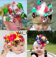 Hair Clips ribbon Christmas 5-6inch girls zebra print hair bows with feather hair clips hair bow satin flower infant headwear gmy