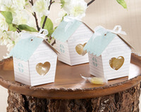 Favor Boxes Silver Paper 50 Pcs Spring Bird House Candy Box with Matching Tag Wedding Favor new