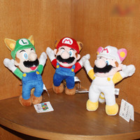 Wholesale New Super Mario Bros Plush Figure quot Raccoon Tanooki Mario Kitsune Fox Luigi White Racoon Fire Mario