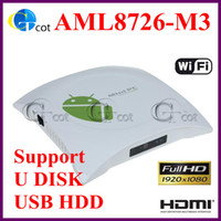Wholesale google Andriod Set Top Box AML8726 M3 GB DDR3 GB ROM HDD Player D Gaming up to p Support U DISK and USB HDD TV STICK