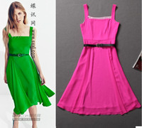 Wholesale summer bohemian style spaghetti strap long dress linen slash neck dress with belt green pink