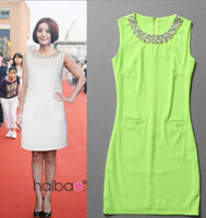 Wholesale summer fashion luxury handmade pearl collar dress lady loose dress white green fluorescent