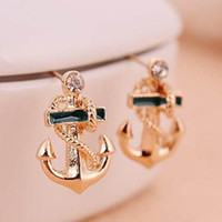 Wholesale Retro Vintage Fashion Anchor With Diamond Cute Earrings charm lovely earring fashion jewelry earrings wedding earrings