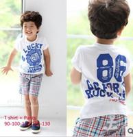 Lucky boy 2-7 years Boy 2013 summer boy T shirt+pants 2pcs set Lucky boy clothing set Children clothes set Sports suit Children's summer clothes