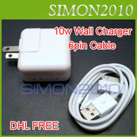 Wholesale 10W USB AC Wall Charger Adapter FT m Data Sync Charger Cable Cord pin Charging for iPad iPhone G S th White Color