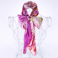 Wholesale High Quality Luxurious Satin Charmeuse Silk Hijab Fashion Scarf Head Wraps Van Gogh Painting quot Peach Tree in Bloom quot Handrolled Hem Scarf