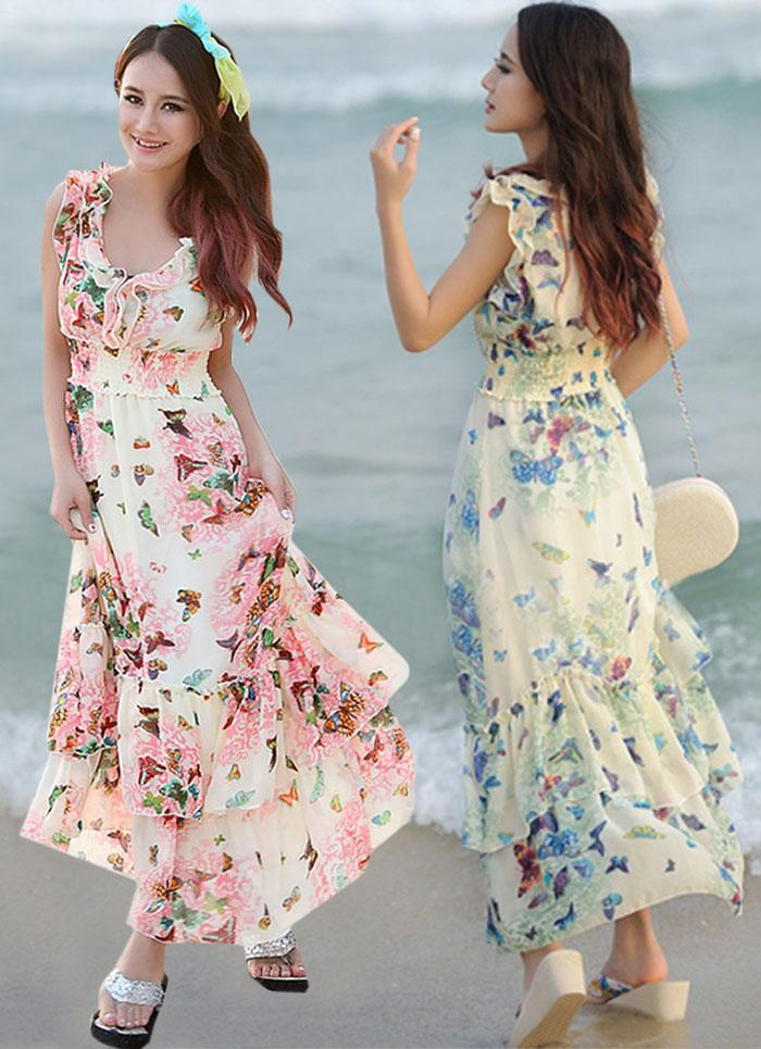 Summer Dresses Women Ladies Ruffles Chiffon Dress Bohemian Beach ...