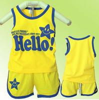 Wholesale Baby Kids Clothing Children Outfits Sets Smile Printing Children Vest Sets Cotton MZ9