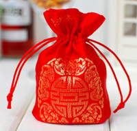 Wholesale 100pcs X9cm chinese silk style candy jewelrry Pouch Gift Bag wedding Favors Satin Gift Bag with Drawstring wa125