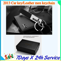 Wholesale 2013 cowhide split Car key Leather men keychain Zinc alloy Buckle Practical and elegant workmanship