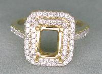 Wholesale EMERALD CUT SOLID K YELLOW GOLD NATURAL DIAMOND SETTING SEMI RING MOUNT R0014