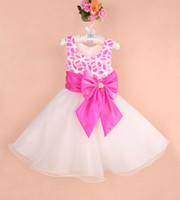 Wholesale Newest design Baby girls wedding party dress kids girl bowknots bow rose dress flower cosplay children s Day colors years