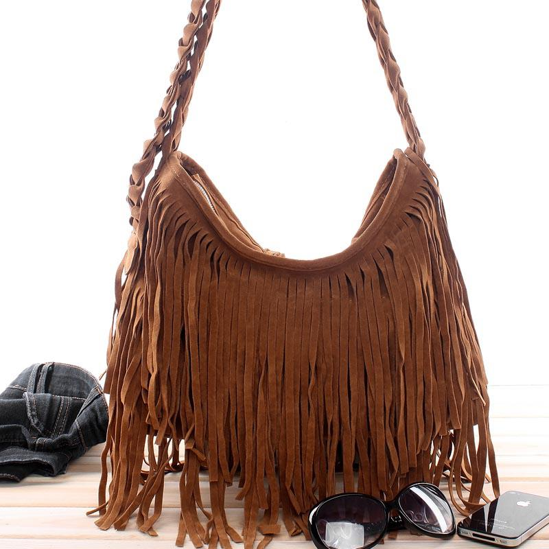 New Dropship Lady Bags Suede Shoulder Bag Fringe Tassel Women'S ...